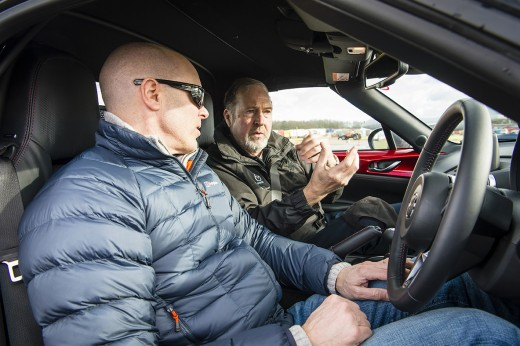 James Foxall gets expert driver coaching from Mark Hales in a 2016 all-new Mazda MX-5