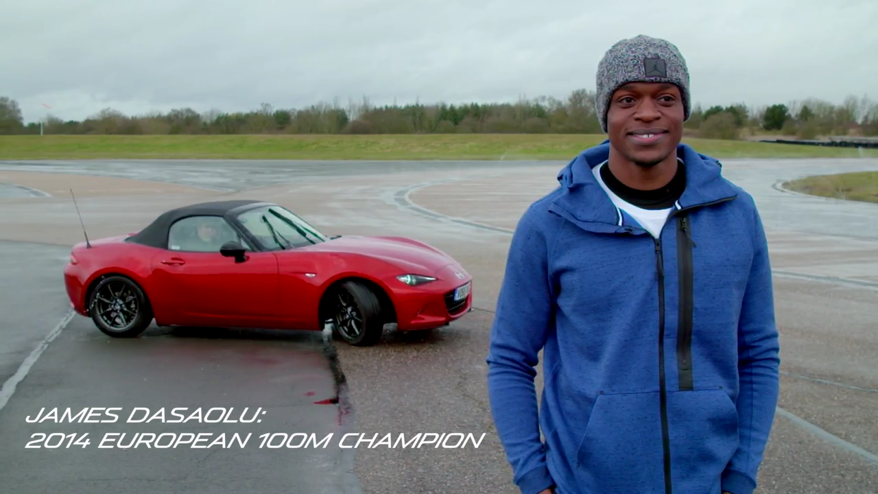 James Desaolu, European 100m sprint champion, learns to drift on a track with the all-new Mazda MX-5